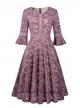 Clothes/footwear details Twinklady Women's Vintage Full Lace Bell Sleeve Big Swing A-Line Dress (Dresses)