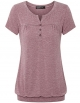 Clothes/footwear details Vinmatto Women's Henley V Neck Pleated Button Details Banded Hem Blouse Top (Top)
