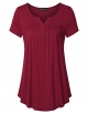 Clothes/footwear details Vinmatto Women's Short Sleeve Henley V Neck Pleated Button Details Tunic Shirt Top (Top)