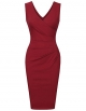 Clothes/footwear details Vinmatto Women's Vintage Sleeveless Double V Neck Pleated Slim Business Pencil Dress (Dresses)