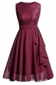 Clothes/footwear details Vintage A-Line Contrast Dress Lace Chiffon Prom Gown for Women (Dresses)