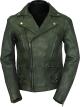 Clothes/footwear details Vintage Biker Men's Green Lambskin Leather Jacket (Jacket - coats)
