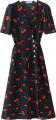 Clothes/footwear details Vintage V-neck Cherry Print Holiday Dres (Dresses)