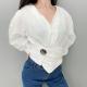 Clothes/footwear details Vintage V-neck Lantern Sleeve White Shir (Shirts)