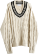 Clothes/footwear details Vintage V-neck colorblock twisted knit p (Pullovers)