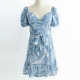 Clothes/footwear details Vintage high waist blue printed slim ski (Dresses)