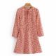 Clothes/footwear details Vintage style maple leaf print tie waist (Dresses)