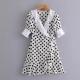 Clothes/footwear details Vintage wave stitching wrap dress (Dresses)
