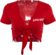 Clothes/footwear details V-neck Reveal Navel Short-Sleeve T-Shirt (Cardigan)
