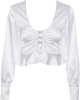 Clothes/footwear details V-neck exposed navel ruffled long-sleeve (Long sleeves shirts)