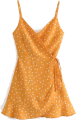 Clothes/footwear details V-neck high waist tie with polka dot chi (Dresses)