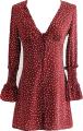 Clothes/footwear details V-neck long-sleeved red wave single-brea (Dresses)