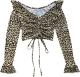 Clothes/footwear details V-neck ruffled leopard drawstring lace l (Shirts)