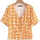 Clothes/footwear details V-neck single-breasted wave trumpet slee (Shirts)
