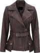 Clothes/footwear details WOMENS BROWN DISTRESSED LAMBSKIN LEATHER JACKET (Jacket - coats)