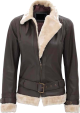 Clothes/footwear details WOMENS BROWN LEATHER JACKET WITH FUR COLLAR (Jacket - coats)