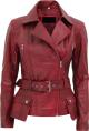 Clothes/footwear details WOMENS MAROON BIKER LAMBSKIN LEATHER JACKET (Jacket - coats)