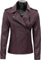 Clothes/footwear details WOMENS PURPLE BIKER LAMBSKIN LEATHER JACKET (Jacket - coats)