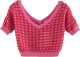 Clothes/footwear details Wavy V-neck colorblock openwork sweater (Bolero)