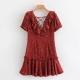 Clothes/footwear details Wild V-neck ruffled wave dot print dress (Dresses)