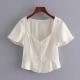 Clothes/footwear details Wild V-neck waist ruffled short-sleeved (Shirts)