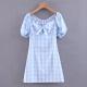 Clothes/footwear details Wild laced plaid bow dress (Dresses)