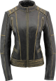 Clothes/footwear details Women's Distressed Gray Laced Leather Jacket (Jacket - coats)