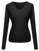 Clothes/footwear details Women's Mermaid Texture Patterned V-Neck Cotton Based Knit Sweater (Shirts)