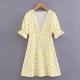 Clothes/footwear details Yellow chrysanthemum print puff sleeve d (Dresses)