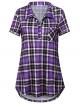 Clothes/footwear details Youtalia Women's Summer Short Sleeve Plaid Blouses Button Down T Shirt Casual Tunics (Shirts)