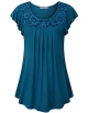 Clothes/footwear details Youtalia Women's Summer Short Sleeve Scoop Neck Pleated Lace Casual Tunic Tops (Shirts)