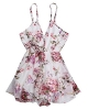 Clothes/footwear details ZAFUL Women Chiffon Floral Print Short Rompers Sexy Deep V-Neck Spaghetti Strap Jumpsuit Pink (Pants)