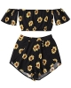 Clothes/footwear details ZAFUL Women's 2 Pcs Floral Print Off Shoulder Crop Top and Shorts Bohemian Two Pieces Set (Swimsuit)