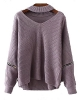 Clothes/footwear details ZAFUL Women's Pullover Sweater Solid Choker V Neck Long Sleeve Loose Knit Sweater Jumper Top (Shirts)