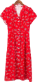 Clothes/footwear details floral single-breasted ruffled small V-n (Dresses)