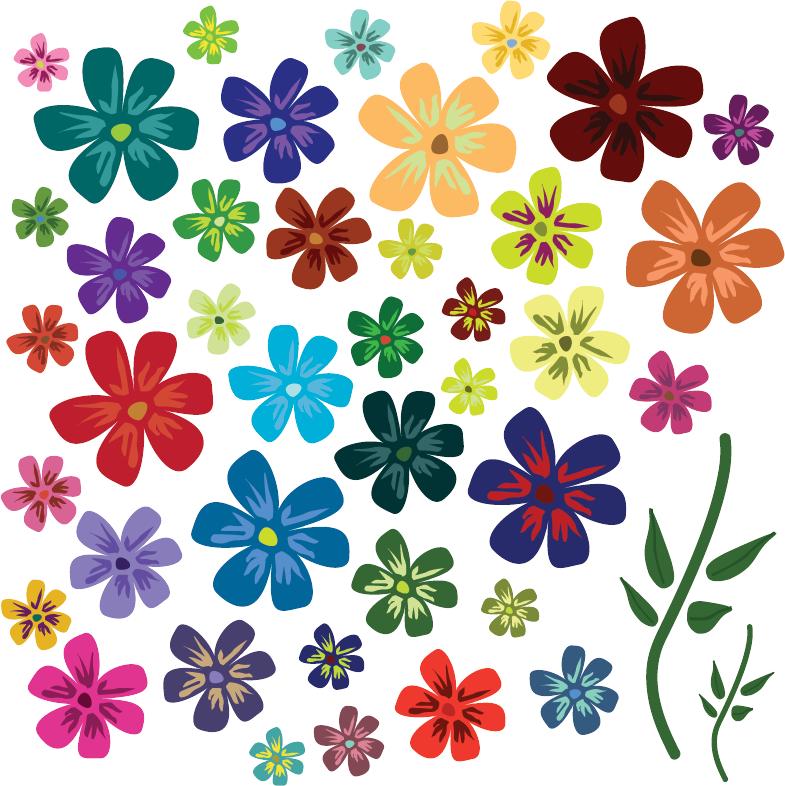 полотне цветные цветочки для открыток один