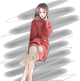 Clothes/footwear details loose round neck pullover sweater skirt (Dresses)