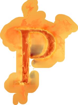 Burning Letter P