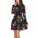 Acevog My look -  ACEVOG Women's Casual Floral Print Bell Sleeve Fit and Flare Dress