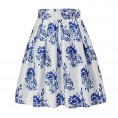 Alistyle Skirts -  Alistyle Womens Vintage Skirts Floral Print Pleated A-line Flared Midi Dresses with Pockets