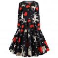 Asskdan Dresses -  Asskdan Women's Christmas Dress Xmas Gift Long Sleeve Printed Dress Pullover Flared A-Line Swing Dress