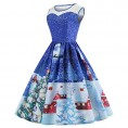 Asskdan Dresses -  Asskdan Women's Vintage Christmas Dress Round Neck Sleeveless Printed Cocktail Party Retro A-Line Swing Dress