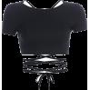 Basic halter strap short-sleeved T-shirt - TOP
