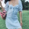 Bow lace stitching dress puff sleeve bac - DRESS