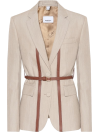Burberry Leather-trimmed wool blazer - Burberry