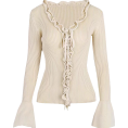 feclothing - Deep V-neck ruffled tie trumpet sleeve k - Cardigan - $35.99