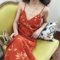 FECLOTHING My look -  Deep V-neck slim print holiday dress