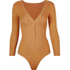 Deep v-breasted low-cut thread long-slee - BODYSUIT