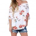 Doramode My look -  Doramode Womens 3/4 Sleeve Off Shoulder Floral Printed T Shirts Tops Blouses