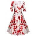 Elesol Dresses -  ELESOL Women's Half Sleeve Swing Dress Flower Print A Line Tea Dress